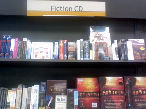 "Apparently the Bible goes under ""Fiction\"" at Books-A-Million."